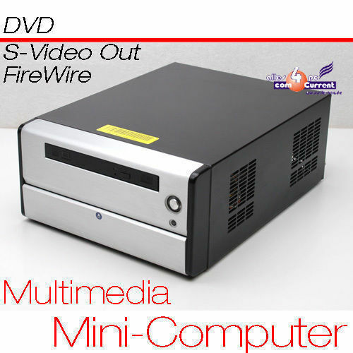 Small PC CPU 1,6 GHZ S-VIDEO Tv-Out 80GB HDD 1 GB RAM DVD 12 Volt Power Supply