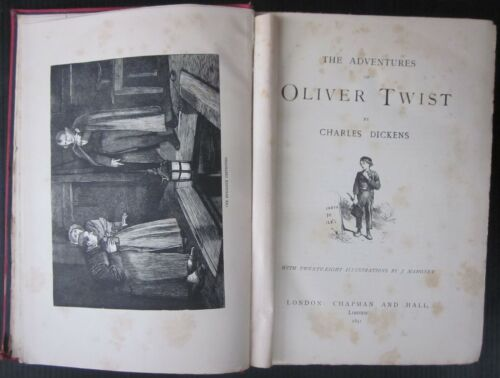 1891 OLIVER TWIST TALE TWO CITIES Dickens illustrated Mahoney Chapman Hall