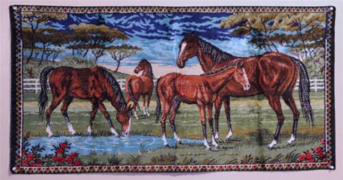 Tapestry Wall Hanging Horses Label Authentic P C Velvet 1950's