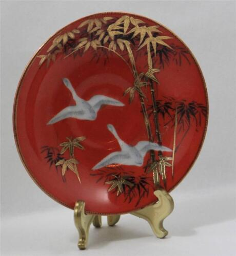 Asian Plate White Cranes Bamboo Hand Painted Gold Leaf CPO Japan RARE