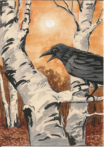 ACEO PRINT OF PAINTING RYTA BIRCH FOLK RAVEN CROW VINTAGE STYLE COUNTRY DECOR