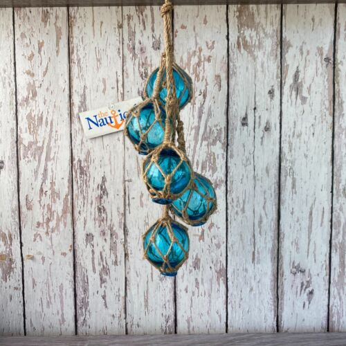 "(5) - 2"" Aqua Glass Fishing Floats On Rope ~Nautical Fish Net Decor ~Light Blue"