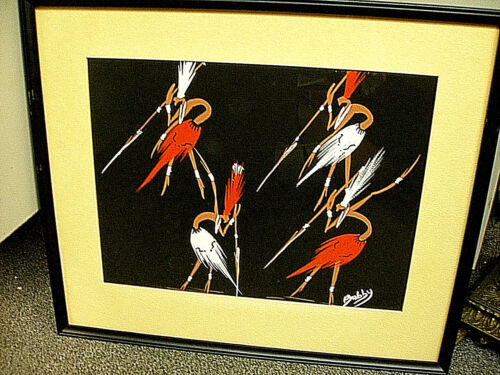 MID-CENTURY ORIGINAL WATERCOLOR PAINTING HAGENAUER STYLE TRIBAL DANCERS SIGNED !