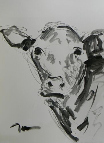 JOSE TRUJILLO ACRYLIC PAINTING BLACK AND WHITE B&W COW HEAD PORTRAIT COLLECTIBLE