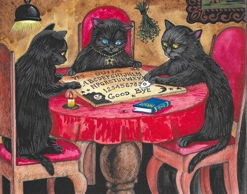 11x14 PRINT OF PAINTING RYTA HALLOWEEN BLACK CAT OUIJA BOARD SPIRIT Witch GHOST