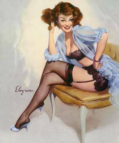 Gil ELVGREN Pinup WELL SEATED Original Painting LINGERIE Pin-Up Garter Stockings