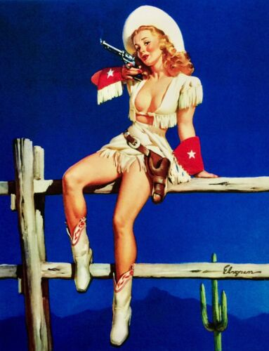 COLT SALE Elvgren COWGIRL Original Painting Pin-Up COWBOY TEXAS Pinup PEACEMAKER