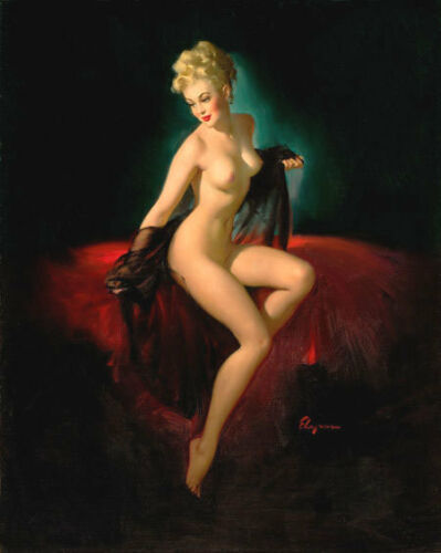 Gil Elvgren UNVEILING NUDE Original Painting Pin-Up Sheer Negligee Pinup RealUSA