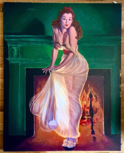Gil Elvgren SHEER DELIGHT Original Painting Pin-Up SEE THROUGH NEGLIGEE Pinup