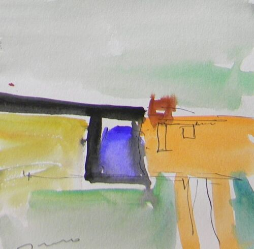 JOSE TRUJILLO ORIGINAL Watercolor Painting Paper Expressionist ABSTRACT SIGNED