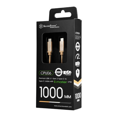 SILVERSTONE USB-C M/M CABLE 1.0 Meter USB 3.1 Gen2 SST-CPU06G-1000 Gold F43