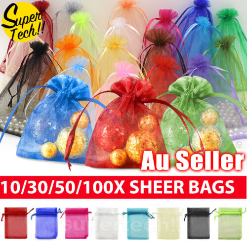 10-100Pcs 3 Size Organza Bag Sheer Bags Wedding Candy Party Jewellery Packaging