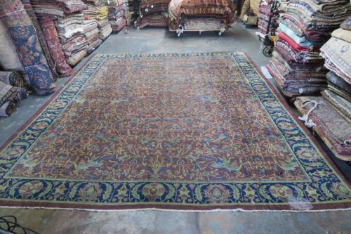 Antique Hand Knotted Wool Turkestan Rug 11'9 x 14'8 DISTRESSED Shabby Chic Birds