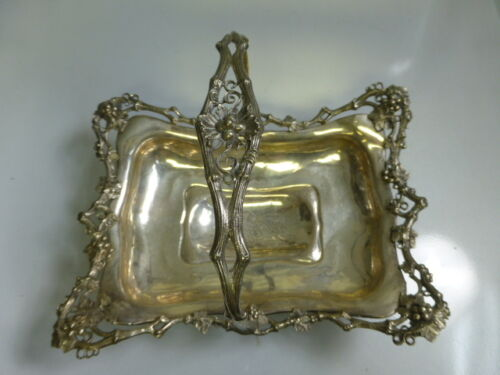 19th Century Continental Silver Footed Basket With Leaf & Berry Design