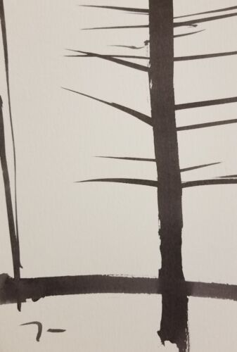 JOSE TRUJILLO - SIGNED ABSTRACT Collectible INK WASH Tree Trunks BLACK White