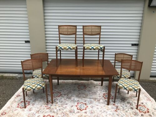 MCM 1962 Drexell Parallel Barney Flagg Walnut Dining Table ~ 6 Chairs ~ Server