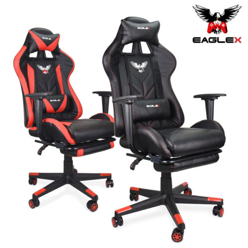 EagleX Gaming Race Chair - Racing Office Computer PU Leather Footrest Executive