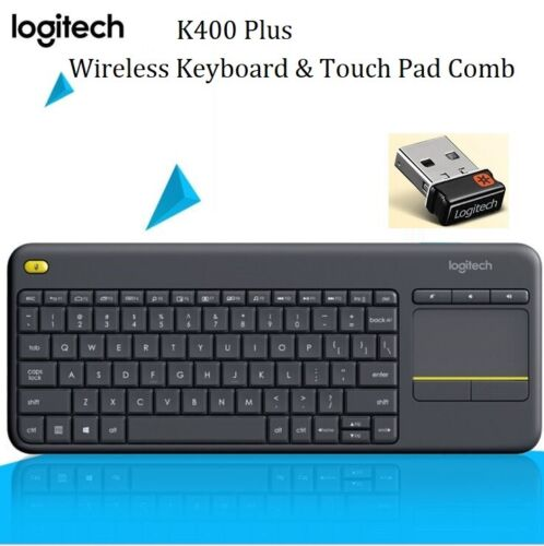 Logitech Wireless Keyboard K400 Plus PC-to-TV Control Touch Pad mouse comb