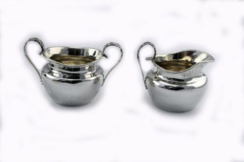 Vintage Sanborns Mexico Sterling Silver Creamer and Sugar Set Hand Wrought 8.8oz