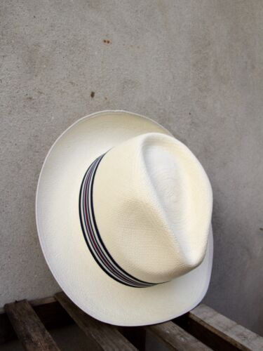 Superfine Regimental Panama Hat by Christys' of London - Blue Grey Striped Band