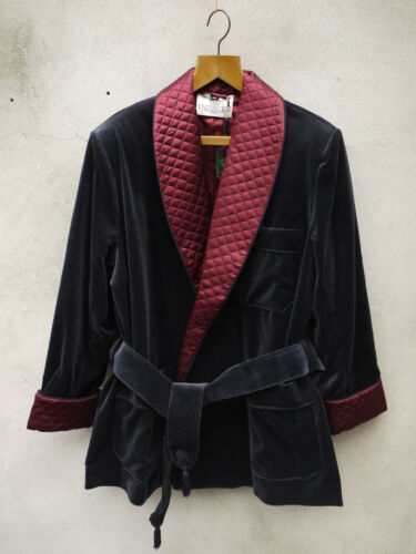 Navy Smoking Jacket by Tails and the Unexpected – Cotton Velvet and Silk