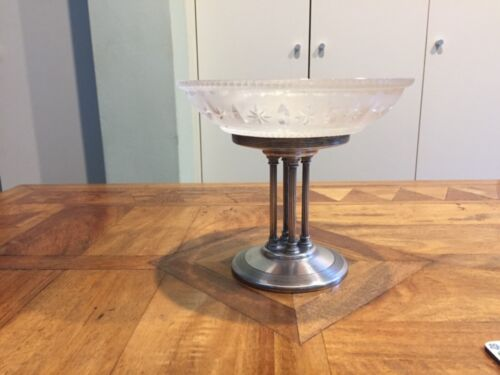 Silver and frosted cut glass compote