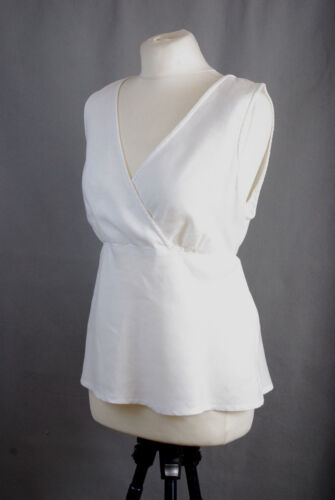 L153/33 Cut Loose Hypoallergenic Pure Linen White Wrap Sleeveless Top, UK 14
