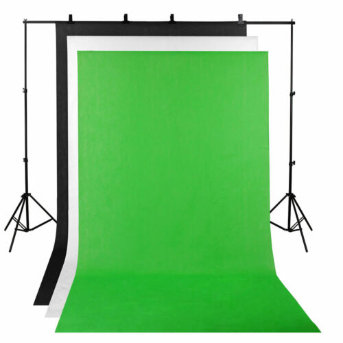 3 Backdrop ChromaKey Green Screen Black White Background Stand Photography Kit