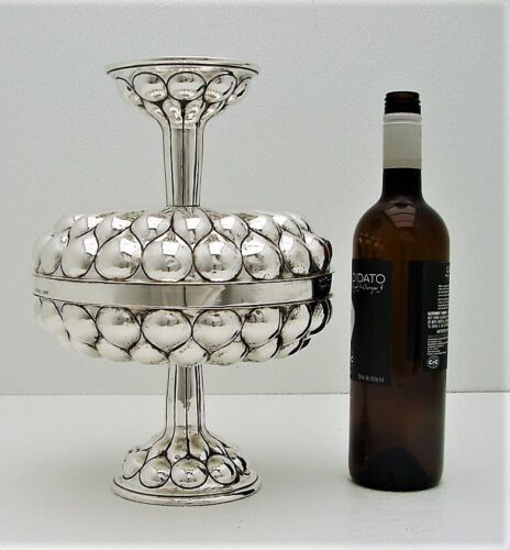 Hanau Sterling Silver Double Cup Compote English Import Hand Wrought Renaissance