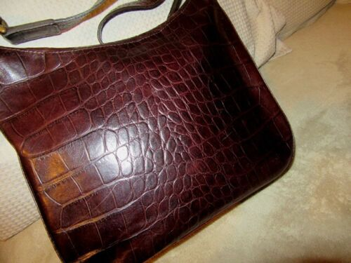 Vintage early MULBERRY congo croc dark brown leather shoulder bag Ex cond.