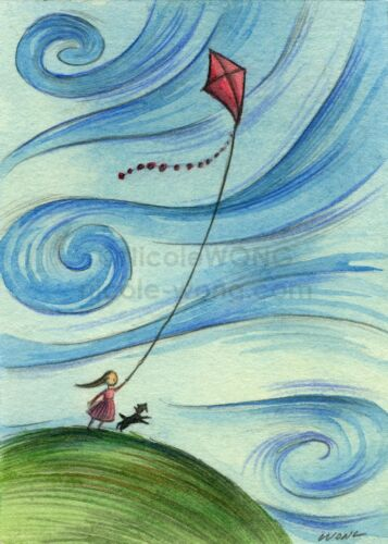 ACEO PRINT - WINDY KITE FLYING - girl Scottie dog pet animal childhood sky play
