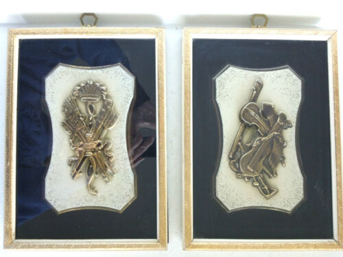 """Pair of 1960's Musical Plaques in Wood Frames, 7"""" x 10"""" – Patent Pending"""