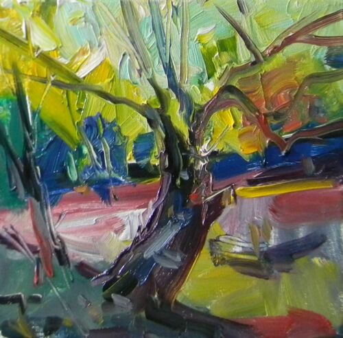 JOSE TRUJILLO - OIL PAINTING EXPRESSIONIST TREE BENT TRUNK WOODS COLLECTIBLE