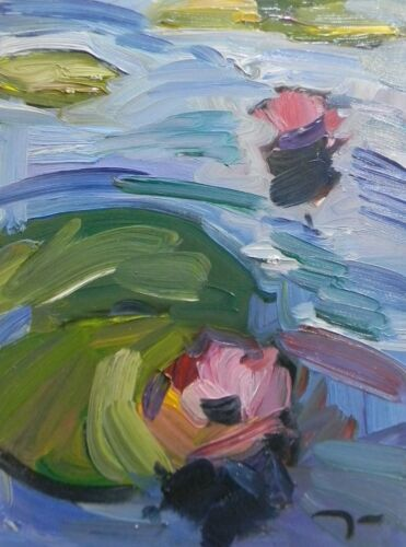 """JOSE TRUJILLO ORIGINAL Oil Painting Waterlilies Fauvism Pond Lily Pads 12x16"""""""