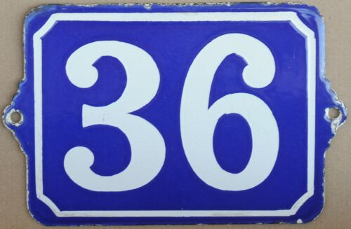 Large old blue French house number 36 door gate plate plaque enamel metal sign