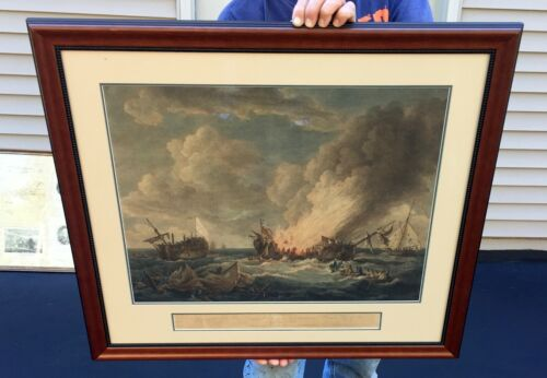 """1780 JOHN BOYDELL """"THE BATLLE OF HMS QUEBEC AND FRENCH FRIGATE SURVEILLANT""""Other Historical Memorabilia - 259144"""