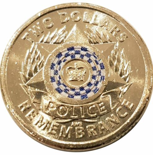 2019 $2 Dollar Coloured Coin POLICE REMEMBRANCE - UNC From Roll