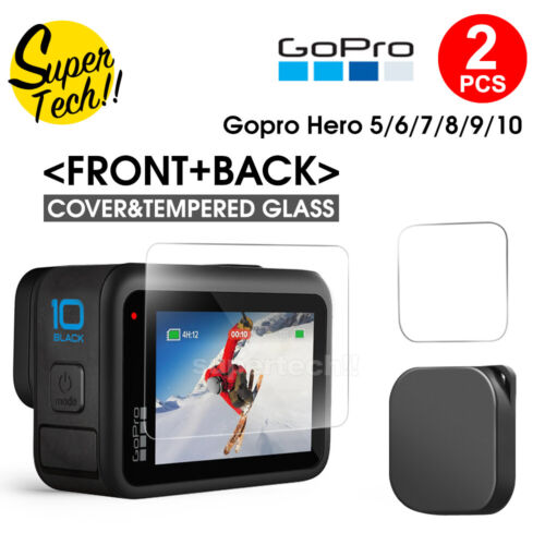 2x Tempered Glass Screen Protector Cover Lens Cap For GoPro Hero 8 7 6 5 Black