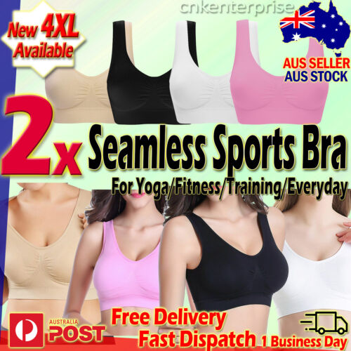 Sports Bras x3 Stretchable Seamless Bra Yoga Fitness Training Everyday Comfort
