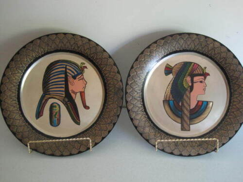 Egyptian Design Metal Wall Plates King Queen Etched Hand Painted Vintage