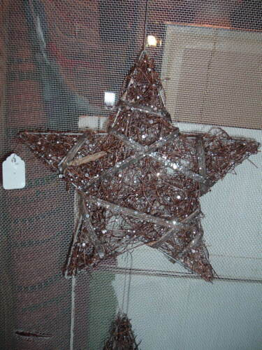 6 TWIG GLITTER STARS ORNIES PRIMITIVE GRAPEVINE CHRISTMAS WEDDING AMERICANA