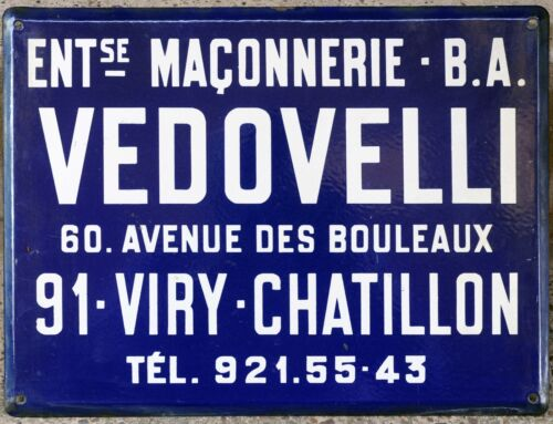 Old blue French enamel building sign plaque notice Vedovelli mason builder Paris