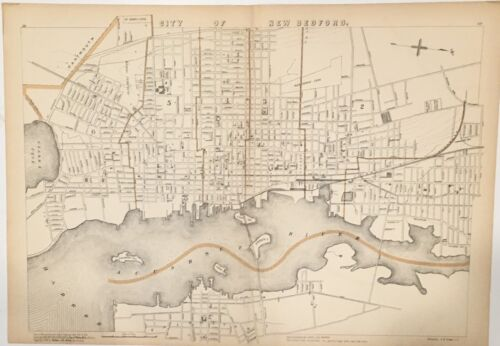 Original 1907 Map City of New Bedford,Fairhaven,Achushnet River Mass,Ma,Old