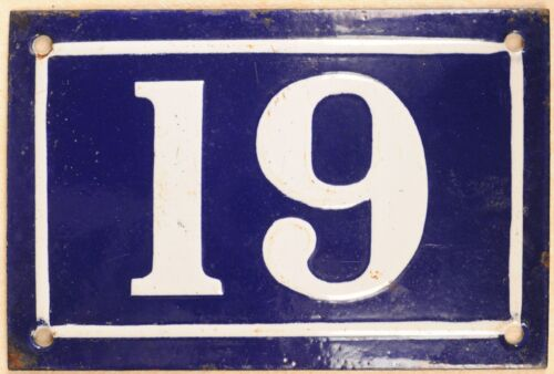 Old blue French house number 19 door gate plate plaque enamel metal sign c1950