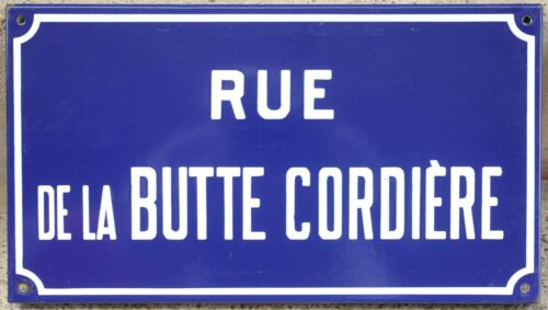 Old French enamel street sign plaque road name Butte Cordiere roper hill Etampes