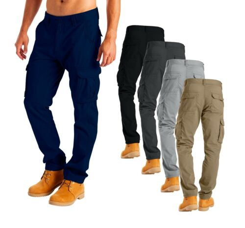 Mens Cargo Pants Military 100% Cotton Work Wear Combat Trousers  Relaxed-Fit