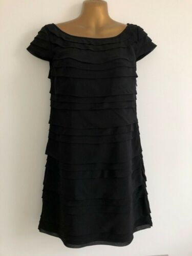 FRENCH CONNECTION Black Tiered Georgette Dress Size 6 Party/Cocktail WORN ONCE