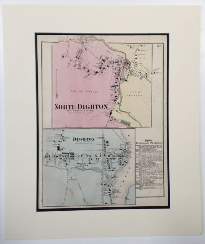 1871 Original Map Dighton North Bristol County MA Mass Old. Vintage Handcolored