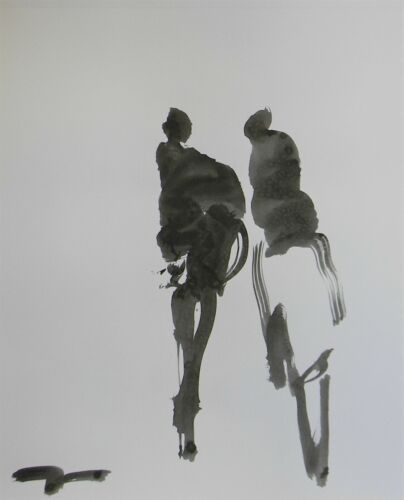 JOSE TRUJILLO - NEW Black INK WASH on Paper Collectible 14x17 Two Figures