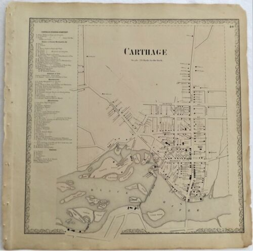 1861 NY Village of Carthage Jefferson County Map from Atlas